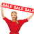 lovely woman in red dress with sale sign stock photo © dolgachov
