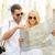 mosolyog · pár · napszemüveg · térkép · város · nyár - stock fotó © dolgachov