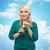 gelukkig · vrouw · drinken · groene · sap · schudden - stockfoto © dolgachov