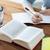 nő · jegyzet · könyv · ír · valami · üzlet - stock fotó © dolgachov