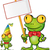 frog cartoon with signboard stock photo © doomko