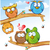 engraçado · coruja · grupo · desenho · animado · árvore · fundo - foto stock © doomko