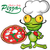 chef frog cartoon with pizza stock photo © doomko