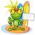 frog cartoon surfer on island background stock photo © doomko