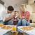 aile · yeme · pizza · mutlu · genç · lezzetli - stok fotoğraf © dotshock