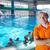 mutlu · çocuklar · grup · yüzme · havuzu · çocuklar · sınıf - stok fotoğraf © dotshock