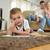 wenig · cute · Junge · Lehrer · Klassenzimmer · lächelnd - stock foto © dotshock