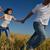 boldog · pár · búzamező · fiatal · pér · szeretet · románc - stock fotó © dotshock