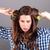 красивая · женщина · вьющиеся · волосы · портрет · лице · черный · ветер - Сток-фото © dukibu