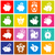 piggy bank set white icons on colored squares stock photo © ecelop