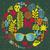 hippi · koponya · haj · kézzel · rajzolt · szín · rajz - stock fotó © ekapanova