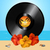vinyl record disc and hibiscus on summer background stock photo © elaine