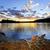 chaise · en · bois · coucher · du · soleil · plage · lac · ciel · paysage - photo stock © elenaphoto