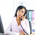 boldogtalan · komoly · nő · beszél · telefon · portré - stock fotó © elenaphoto