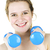 Happy active girl exercising with weights stock photo © elenaphoto