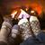 フィート · 暖炉 · 靴下 · 火災 - ストックフォト © elenaphoto