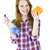 Smiling girl with cleaning supplies stock photo © elenaphoto