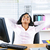 negro · mujer · de · negocios · escritorio · jóvenes · mujer · de · negocios - foto stock © elenaphoto