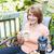 donna · seduta · esterna · patio · caffè · donna · sorridente - foto d'archivio © elenaphoto