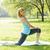 donna · yoga · boot · campo - foto d'archivio © elenaphoto