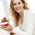gülümseyen · kadın · kırmızı · kahve · fincanı · portre · oturma - stok fotoğraf © elenaphoto