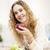 gülümseyen · kadın · elma · portre · kırmızı · elma - stok fotoğraf © elenaphoto