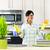 mujer · limpieza · encimera · de · la · cocina · esponja · casa - foto stock © elenaphoto