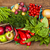 legumes · frutas · jovem · sorrindo · branco · mulher - foto stock © elenaphoto