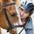 teen · girl · konia · piękna · gospodarstwa · żywności · uśmiech - zdjęcia stock © elenaphoto