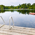 dock on calm lake in cottage country stock photo © elenaphoto