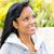 perfil · sonriendo · jóvenes · mujer · negro · atractivo - foto stock © elenaphoto