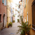 sunny street in villefranche sur mer stock photo © elenaphoto