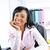 negro · mujer · de · negocios · escritorio · oficina · sonriendo · jóvenes - foto stock © elenaphoto