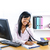 feliz · trabalhador · de · escritório · menina · sessão · secretária · trabalhando - foto stock © elenaphoto