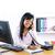 vrouw · notepad · pen · kin · kantoor · glimlach - stockfoto © elenaphoto