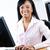 feliz · negro · mujer · de · negocios · escritorio · jóvenes · sonriendo - foto stock © elenaphoto