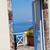 дверной · проем · Санторини · балкона · Средиземное · море · морем · Греция - Сток-фото © ElinaManninen