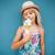 joven · helado · cute · vainilla · cono · de · helado - foto stock © ElinaManninen