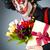 szomorú · bohóc · előad · nő · zene · arc - stock fotó © elnur