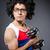 masculino · nerd · halteres · óculos · isolado · cinza - foto stock © elnur