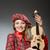 vicces · nő · ruházat · hegedű · zene · lány - stock fotó © elnur