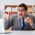 hungry funny businessman eating junk food sandwich stock photo © elnur