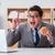 голодный · смешные · бизнесмен · еды · сэндвич - Сток-фото © elnur