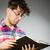 grappig · student · veel · boeken · man · achtergrond - stockfoto © elnur