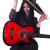 nő · gitáros · izolált · fehér · buli · fém - stock fotó © elnur