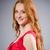 girl in red dress against gray stock photo © elnur