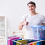 férfi · szennyes · otthon · takarítás · szín · áll - stock fotó © elnur