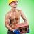 muscular builder with bricks on white stock photo © elnur