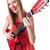 gitáros · nő · izolált · fehér · zene · buli - stock fotó © elnur