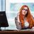 sério · feminino · freelance · trabalhando · computador · portátil · escritório · em · casa - foto stock © elnur